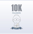little monk showing gratitude for 10000 followers vector image