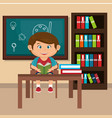 little schoolboy in the classroom vector image