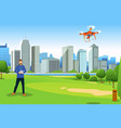man flying drone in a park vector image