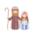 mary joseph and bajesus manger nativity merry vector image vector image
