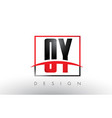 oy o y logo letters with red and black colors and vector image vector image