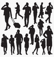 people use smartphone silhouettes vector image