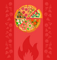 pizzeria restaurant poster color template vector image