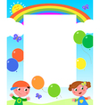 Rainbow kids and balloons frame vector image vector image