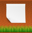 red brick callboard with clean banner and grass vector image