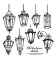 retro lanterns sketch vector image