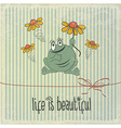 Retro with happy frog and phrase Life is beautiful