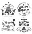 set happy birthday templates for badge sticker vector image vector image