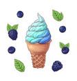 set of ice cream cone vector image