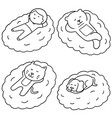 set of man and animal sleep on cloud vector image