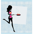 Silhouette of a Woman Wearing an Apron and Holding vector image vector image