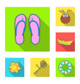 summer rest flat icons in set collection for vector image vector image