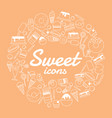 sweet icon set on orange background vector image vector image