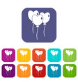 three balloons in the shape of heart icons set vector image