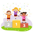 three girls with medals on sport winners pedestal vector image vector image