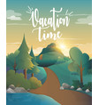 vacation time for traveling in the forest vector image