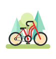 Flat style of red bicycle in the forest Cycling in vector image
