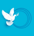 white dove holds twig symbol of peace vector image