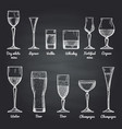 alcoholic drinking glasses vector image vector image