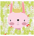 baby rabbit bunny princess in the summer forest vector image vector image