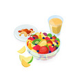 bowl of salad made of fresh exotic fruits glass vector image vector image
