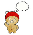 cartoon waving teddy bear in winter hat with vector image