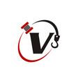 crane hook towing letter v vector image vector image