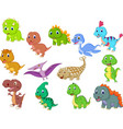 cute baby dinosaurs collection vector image vector image