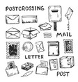drawing mailing things and tools vector image vector image
