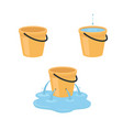 empty full leaking bucket vector image vector image