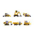 flat set construction equipment vector image