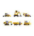 flat set of construction equipment vector image vector image