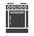 gas stove solid icon kitchen and appliance vector image