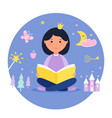 girl reading a book fantasy and fairy tale vector image