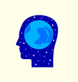 globe in human head icon vector image