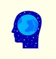 globe in human head icon vector image
