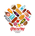 grocery store banner food and drinks icons set vector image vector image