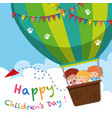 happy childrens day poster with kids on balloon vector image