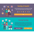 Health Family and Young Family Flat Design Concept vector image vector image