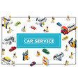 isometric car and tire service concept vector image vector image