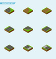 isometric road set of footpath road plane and vector image vector image