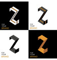 isometric set letter z black white gold palette vector image