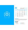 january 2019 desk calendar design template with vector image
