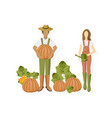 man and woman pumpkin harvest flat style growing vector image vector image