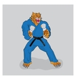 Martial arts fighter leopard in the blue gi vector image
