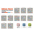 mega pack square icon set bundle long shadow vector image vector image