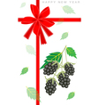 New Year Gift Card with Fresh Blackberries vector image vector image