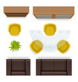 office top view furniture realistic tables vector image vector image