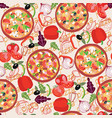 pattern with three different pizzas and vector image vector image