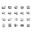 photo flat icon set image gallery picture frame vector image vector image